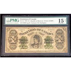 Dominion of Canada 1878 Harington $1, Payable at Montreal, Choice Fine 15 Net