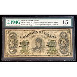 Dominion of Canada 1878 Harington $1, Payable at Montreal, Series A, Choice Fine 15