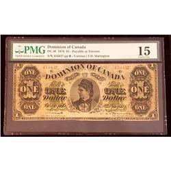Dominion of Canada 1878 Harington $1, Payable at Toronto, Choice Fine 15