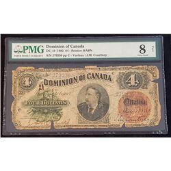 Dominion of Canada 1882 Courtney $4, Very Good 8 Net