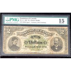 Dominion of Canada 1887 Courtney $2, Choice Fine 15