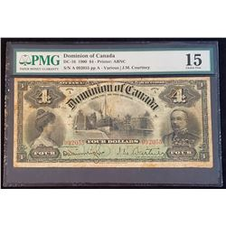 Dominion of Canada 1900 Courtney $4, Choice Fine 15 (DC-16)