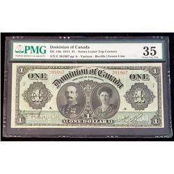 Dominion of Canada 1911 Boville $1, Green Line, Series F, Very Fine 35 (DC-18b)