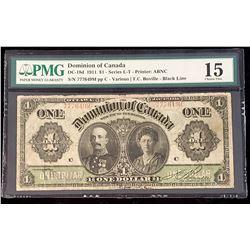 Dominion of Canada 1911 Boville $1, Black Line, Series M, Fine 15 (DC-18d)