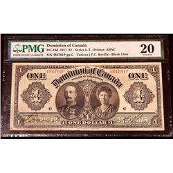 Dominion of Canada 1911 Boville $1, Black Line, Series P, Very Fine 20 (DC-18d)