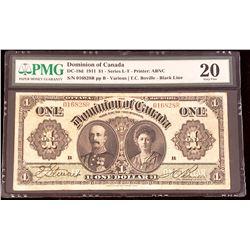 Dominion of Canada 1911 Boville $1, Black Line, Series R, Very Fine 20