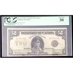 Dominion of Canada 1923 Hyndman-Saunders $2, Black Seal, Series A, Very Fine 30