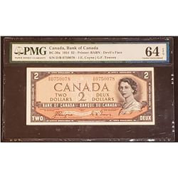 Canada 1954 Coyne-Towers $2, Devil's Face, Changeover D/B, Choice Uncirculated 64 EPQ