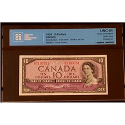 Canada 1954 Coyne-Towers $10, Devil's Face, Changeover E/D, Choice Uncirculated 64