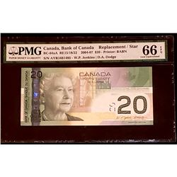 Canada 2004 Jenkins-Dodge $20, Replacement AYR (1.637M-1.638M)  Gem Uncirculated 66 EPQ