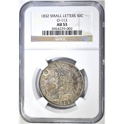 1832 SMALL LETTERS BUST HALF NGC AU 53 O-113