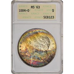 1884-O $1 Morgan Silver Dollar Coin ANACS MS62 Amazing Toning