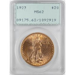 1923 $20 St. Gaudens Double Eagle Gold Coin PCGS MS62 Green Rattler Holder