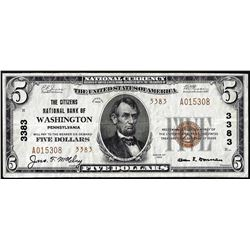 1929 Type 2 $5 Citizens NB of Washington, PA CH# 3383 National Currency Note