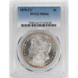 1878-CC $1 Morgan Silver Dollar Coin PCGS MS64