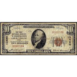1929 $10 First NB of Washington Court House, Ohio CH# 13490 National Currency Note