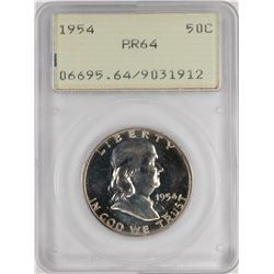1954 Proof Franklin Half Dollar Coin PCGS PR64 Old Green Rattler