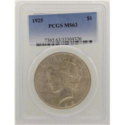 1925 $1 Peace Silver Dollar Coin PCGS MS63