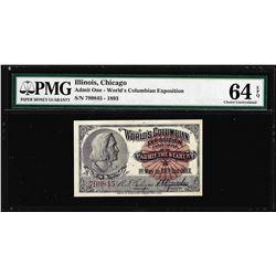 1893 World's Columbian Exposition Ticket Columbus PMG Choice Uncirculated 64EPQ
