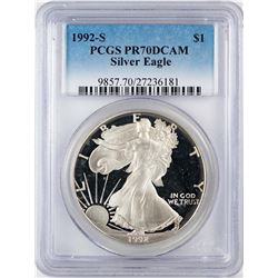 1992-S $1 Proof American Silver Eagle Coin PCGS PR70DCAM