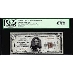 1929 $5 NB of Washington, PA CH# 3383 National Currency Note PCGS About New 50PPQ