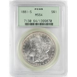 1881-S $1 Morgan Silver Dollar Coin PCGS MS64 Old Green Holder