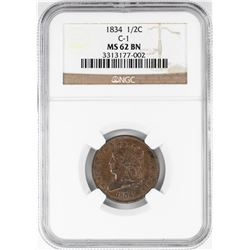 1834 Classic Head Half Cent Coin NGC MS62 BN