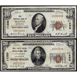 Set of 1929 $10/$20 First NB of Seattle, WA CH# 11280 National Currency Notes