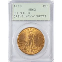 1908 No Motto $20 St. Gaudens Double Eagle Gold Coin PCGS MS62 Green Rattler Holder