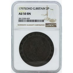 1797 SOHO Great Britain 2 Pence Coin NGC AU50BN