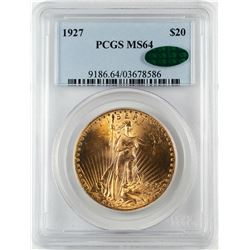 1927 $20 St. Gaudens Double Eagle Gold Coin PCGS MS64 CAC