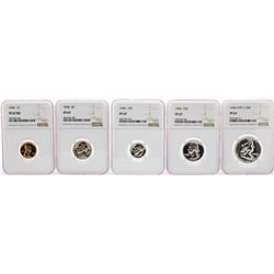 1956 (5) Coin Proof Set Graded NGC PF67