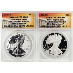 2012-S $1 San Francisco Mint Proof Silver Eagle Coin Set ANACS PR70DCAM First Release