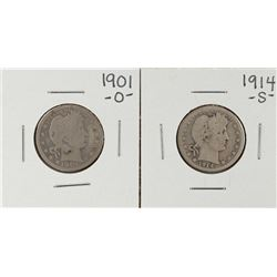 Lot of 1901-O and 1914-S Barber Quarter Coins
