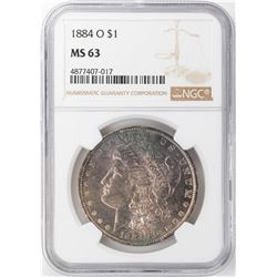 1884-O $1 Morgan Silver Dollar NGC MS63 Nice Toning