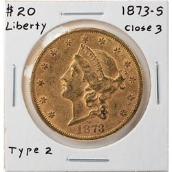 1873-S Closed 3 $20 Liberty Head Double Eagle Gold Coin