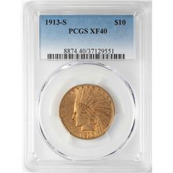 1913-S $10 Indian Head Eagle Gold Coin PCGS XF40