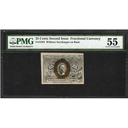 1863 25 Cents Second Issue Fractional Currency Note Fr.1283 PMG About Uncirculated 55