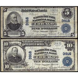 Set of 1902 PB $5/10 Washington Park NB Chicago, IL CH# 3916 National Currency Notes