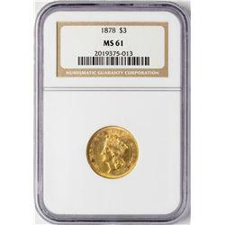 1878 $3 Indian Princess Head Gold Coin NGC MS61