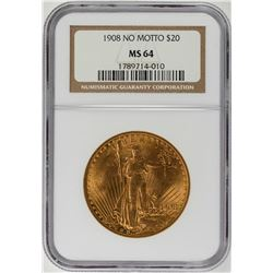 1908 $20 No Motto St. Gaudens Double Eagle Gold Coin NGC MS64