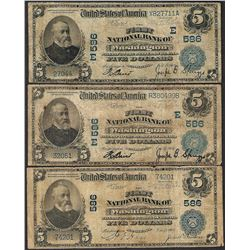 Lot of (3) 1902 PB $5 First NB of Washington, PA CH# 586 National Currency Notes