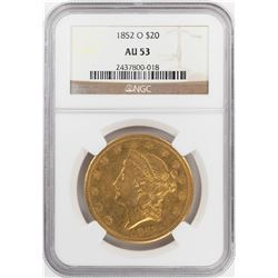 1852-O $20 Liberty Head Double Eagle Gold Coin NGC AU53