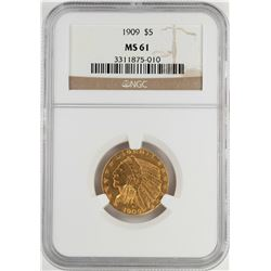 1909 $5 Indian Head Half Eagle Gold Coin NGC MS61