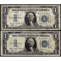Lot of (2) 1934 $1 Funnyback Silver Certificate STAR Notes