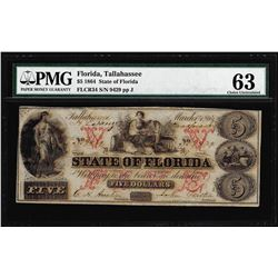 1864 $5 State of Florida Tallahassee Cr.34 Obsolete Note PMG Choice Uncirculated 63