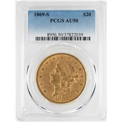 1869-S $20 Liberty Head Double Eagle Gold Coin PCGS AU50