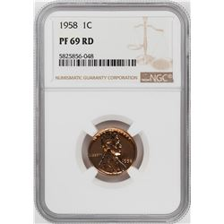 1958 Proof Lincoln Wheat Cent Coin NGC PF69RD Graded Top Pop