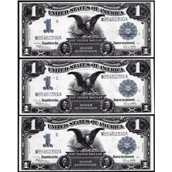 Lot of (3) Consecutive 1899 $1 Black Eagle Silver Certificate Notes