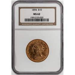 1894 $10 Liberty Head Eagle Gold Coin NGC MS62